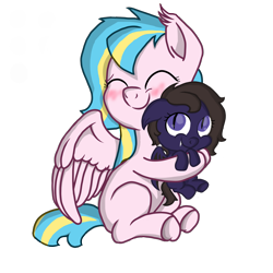 Size: 4000x4000 | Tagged: safe, artist:darkshock, oc, oc only, oc:lokipony, oc:shadow faith, bat pony, pegasus, pony, bat pony oc, blushing, c:, cute, droopy ears, eyes closed, fangs, female, filly, hug, mare, newbie artist training grounds, pegasus oc, simple background, size difference, smiling, spread wings, transparent background, wings
