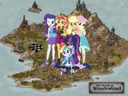 Size: 1920x1440 | Tagged: safe, applejack, fluttershy, rainbow dash, rarity, sci-twi, sunset shimmer, twilight sparkle, equestria girls, map, wonderland