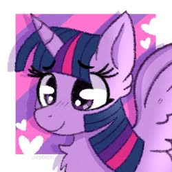 Size: 646x645 | Tagged: safe, artist:jayrnski, twilight sparkle, alicorn, pony, abstract background, blushing, bust, chest fluff, cute, ear fluff, female, heart, mare, portrait, solo, twiabetes, twilight sparkle (alicorn)