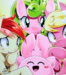 Size: 903x1024 | Tagged: safe, artist:025aki, daisy, flower wishes, lily, lily valley, roseluck, earth pony, pony, blushing, female, flower trio, kirby, kirby (character), mare, traditional art, worried