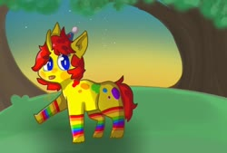 Size: 1024x692 | Tagged: artist needed, safe, oc, oc only, oc:kay (rigbythememe), pony, unicorn, background, colorful, female, forest, night, rainbow, solo