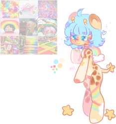 Size: 472x507 | Tagged: safe, artist:milklungs, oc, oc only, oc:olivia (rigbythememe), pony, moodboard, pastel, rainbow, simple background, solo, stars, white background