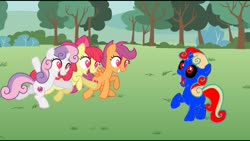 Size: 1920x1080 | Tagged: safe, artist:angrymetal, color edit, edit, edited screencap, screencap, oc, oc:angrymetal, earth pony, pegasus, unicorn, lesson zero, angrybelle, angrybloom, angryscoots, background, colored, female, heart eyes, implied sex, male, shocked, unicorn oc, vector, want it need it, wingding eyes