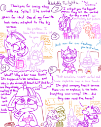 Size: 4779x6013 | Tagged: safe, artist:adorkabletwilightandfriends, berry punch, berryshine, spike, twilight sparkle, oc, oc:barry, oc:marie, oc:serena, alicorn, dragon, earth pony, pony, comic:adorkable twilight and friends, adorkable, adorkable twilight, book, cinema, comic, cute, disappointed, dork, family, floppy ears, food, friendship, front view, funny, happy, humor, magic, movie, popcorn, slice of life, theater, twilight sparkle (alicorn), upset