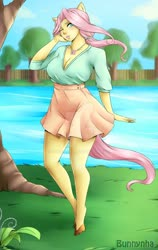 Size: 1024x1622 | Tagged: safe, artist:bunnynha, fluttershy, anthro, unguligrade anthro, breasts, busty fluttershy, cleavage, clothes, female, human facial structure, jewelry, lake, necklace, obtrusive watermark, solo, solo female, tree, watermark