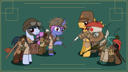 Size: 3000x1689 | Tagged: safe, artist:n0kkun, oc, oc only, oc:akira hekima, oc:fukimo gen, oc:hiroshi seung, oc:shiro tai, bat pony, earth pony, pegasus, pony, unicorn, armor, army, bag, bat pony oc, belt, boots, bottle, carbine, clothes, combat armor, curved horn, female, flask, gas mask, goggles, green background, grenade, gun, hachimaki, hat, headband, helmet, horn, japan, japanese, katana, knife, machete, machine gun, male, mare, mask, military, pants, pouch, raised hoof, rifle, rising sun, sad, saddle bag, shirt, shoes, simple background, smg, stallion, submachinegun, sword, tanktop, weapon, world war ii, worried