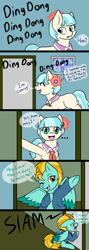 Size: 532x1501 | Tagged: safe, artist:jolliapplegirl, coco pommel, lightning dust, earth pony, pegasus, pony, cocodust, comic, dialogue, female, lesbian, mare, shipping