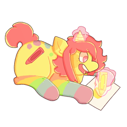 Size: 2000x2000 | Tagged: safe, artist:rigbythememe, derpibooru exclusive, oc, oc only, oc:kiddo (rigbythememe), pony, unicorn, colorful, crayon, drawing, female, magic, rainbow, simple background, solo, transparent background
