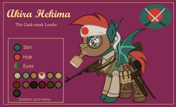 Size: 3000x1832 | Tagged: safe, artist:n0kkun, oc, oc only, oc:akira hekima, bat pony, pony, armor, bag, bat pony oc, belt, boots, bottle, carbine, clothes, combat armor, female, flask, gun, hachimaki, headband, katana, knife, mare, pants, pouch, purple background, reference sheet, rising sun, saddle bag, shirt, shoes, simple background, solo, sword, vest, weapon, world war ii, worried