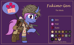 Size: 3000x1832 | Tagged: safe, artist:n0kkun, oc, oc only, oc:fukimo gen, pony, unicorn, bag, bandage, boots, bottle, clothes, curved horn, female, flask, goggles, grenade, gun, helmet, holster, horn, katana, mare, medic, pants, pouch, purple background, raised hoof, reference sheet, sad, saddle bag, shirt, shoes, simple background, smg, solo, submachinegun, sword, weapon, world war ii