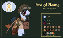 Size: 3000x1832 | Tagged: safe, artist:n0kkun, oc, oc only, oc:hiroshi seung, earth pony, pony, belt, boots, bottle, clothes, flask, goggles, green background, gun, helmet, kanji, katana, knife, machine gun, male, pants, pouch, reference sheet, shirt, shoes, simple background, solo, stallion, sword, weapon, world war ii