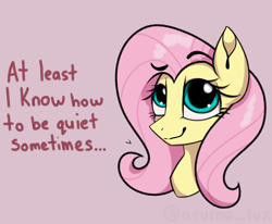 Size: 1908x1576   Tagged: safe, artist:lux-arume, fluttershy, pegasus, pony, bust, female, mare, portrait, raised eyebrow, smug, solo
