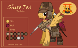 Size: 3000x1832 | Tagged: safe, alternate version, artist:n0kkun, oc, oc only, oc:shiro tai, pegasus, pony, bag, belt, boots, brown background, clothes, dirt, gun, hat, katana, male, mud, pants, pouch, reference sheet, rifle, saddle bag, shoes, simple background, solo, stallion, sword, tanktop, weapon, world war ii