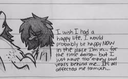 Size: 2474x1536   Tagged: safe, artist:modocrisma, oc, oc only, oc:sobakasu, earth pony, pony, chest fluff, depressed, depression, doodle, eye clipping through hair, freckles, hair over one eye, lined paper, looking down, male, monochrome, pencil drawing, photo, ponysona, solo, teenager, text, traditional art, vent art