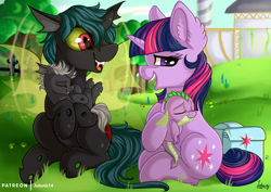 Size: 4092x2893 | Tagged: safe, artist:julunis14, spike, twilight sparkle, oc, oc:bandit, oc:chad, oc:kama ezio clyde armasta laska chadwickson the iv, changeling, dragon, pony, unicorn, baby, baby dragon, baby spike, bag, canterlot, changeling oc, commission, cute, double colored changeling, female, filly, foal, mama twilight, ocbetes, saddle bag, spikabetes, tree, twiabetes, younger