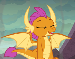 Size: 1181x937 | Tagged: safe, screencap, smolder, sweet and smoky, spoiler:s09e09, cropped, eyes closed, happy, smiling, solo, spread wings, wings