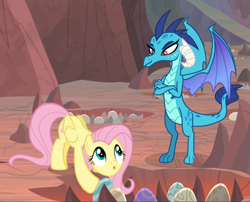 Size: 1163x938 | Tagged: safe, screencap, fluttershy, princess ember, dragon, pegasus, pony, sweet and smoky, spoiler:s09e09, amused, claws, cropped, crossed arms, crouching, cute, dragon egg, dragoness, duo, female, folded wings, horns, looking at each other, mare, open mouth, shyabetes, smiling, smirk, spread wings, wings
