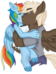 Size: 850x1114 | Tagged: safe, artist:dbkit, dumbbell, rainbow dash, anthro, carrying, cloven hooves, couple, dumbdash, female, male, ring, shipping, simple background, size difference, straight, wedding ring, white background