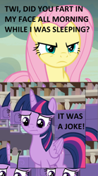 Size: 1116x2008 | Tagged: safe, edit, edited screencap, screencap, fluttershy, twilight sparkle, alicorn, pony, sweet and smoky, angry, caption, cropped, dialogue, female, fluttershy is not amused, glare, image macro, implied farting, mare, solo, text, twilight sparkle (alicorn), unamused
