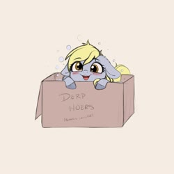 Size: 4000x4000 | Tagged: safe, artist:miokomata, derpy hooves, pegasus, pony, blushing, box, bubble, cute, derpabetes, female, floppy ears, mare, miokomata is trying to murder us, open mouth, pony in a box, simple background, solo, weapons-grade cute, ych result