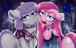 Size: 1280x814 | Tagged: safe, artist:wimsie, maud pie, pinkie pie, earth pony, blushing, chest fluff, choker, clothes, ear piercing, earring, jewelry, lidded eyes, necklace, piercing, pinkamena diane pie, punk, tongue out