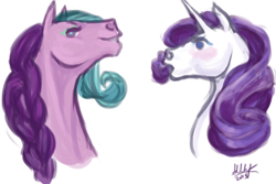 Size: 450x300 | Tagged: safe, artist:sdlhf, rarity, earth pony, pony, unicorn, blushing, bust, cousins, duo, female, g3, g3 to g4, generation leap, headcanon, hoers, lavender lake, mare, realistic, simple background, white background