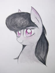 Size: 3024x4032 | Tagged: safe, artist:papersurgery, octavia melody, earth pony, pony, bust, female, looking at you, mare, smiling, solo, traditional art, watercolor painting