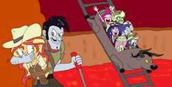 Size: 2664x1358 | Tagged: safe, artist:bugssonicx, applejack, fluttershy, pinkie pie, rainbow dash, rarity, sci-twi, stalwart stallion, sunset shimmer, twilight sparkle, equestria girls, hat, humane five, humane seven, humane six, lava, open mouth, pith helmet, roller coaster, scared, scaredy dash