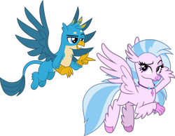 Size: 5210x4044 | Tagged: safe, artist:cheezedoodle96, artist:frownfactory, edit, gallus, silverstream, classical hippogriff, griffon, hippogriff, .svg available, chest fluff, female, flying, gallstream, jewelry, lidded eyes, looking at you, male, necklace, paws, raised eyebrow, shipping, simple background, smiling, smirk, spread wings, straight, svg, transparent background, vector, wings