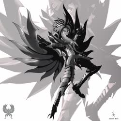 Size: 1600x1601 | Tagged: safe, artist:zidanemina, captain celaeno, my little pony: the movie, alternate hairstyle, armor, crossover, garuda, grayscale, monochrome, saint seiya, simple background, solo, white background, wings