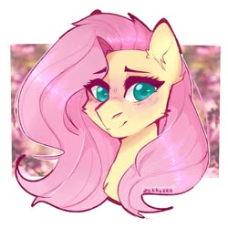 Size: 1024x1024 | Tagged: safe, artist:zakkurro, fluttershy, pony, abstract background, blushing, bust, cheek fluff, colored pupils, cute, ear fluff, female, mare, portrait, shyabetes, solo