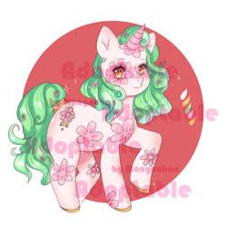 Size: 1000x1000 | Tagged: safe, artist:monyachan, oc, pony, unicorn, adoptable, cute, flower, pink