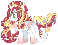 Size: 3576x2742 | Tagged: safe, artist:2pandita, oc, alicorn, original species, pony, augmented tail, beads, colored wings, diamond, female, gradient legs, gradient wings, hair accessory, hair jewelry, jewelry, long mane, mare, simple background, solo, standing, striped mane, tail jewelry, tiara, transparent background, tricolor mane, wings