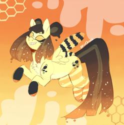 Size: 1362x1372 | Tagged: safe, artist:akiiichaos, oc, oc:honeybee, bee pony, original species, female, solo