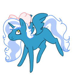 Size: 500x500 | Tagged: safe, artist:clorblinddraws, oc, oc only, oc:fleurbelle, alicorn, alicorn oc, bow, chibi, cute, female, hair bow, mare, simple background, smol, solo, transparent background, yellow eyes