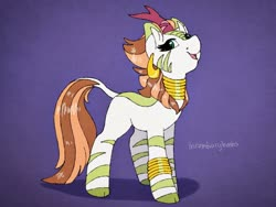 Size: 1280x960 | Tagged: safe, artist:incendiaryboobs, autumn blaze, zecora, hybrid, kirin, zebra, cloven hooves, fusion, horn, jewelry, leonine tail, open mouth, smiling