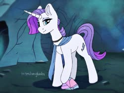 Size: 1280x960 | Tagged: safe, artist:incendiaryboobs, maud pie, rarity, pony, unicorn, cave, choker, clothes, cutie mark, female, fusion, horn, mare, rock, scarf, solo