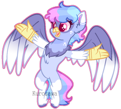 Size: 780x704 | Tagged: safe, artist:kurosawakuro, oc, hippogriff, base used, female, interspecies offspring, magical lesbian spawn, offspring, outline, parent:gilda, parent:rainbow dash, parents:gildash, simple background, solo, transparent background, two toned wings, watermark, wings