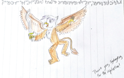 Size: 2048x1291 | Tagged: safe, artist:horsesplease, gilda, constructed language, dancing, khopesh, lined paper, sarmelonid, sword, sydneyroo(coser), traditional art, vozonid, weapon