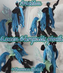 Size: 3000x3500 | Tagged: safe, artist:kuroran, queen chrysalis, advertisement, plushie