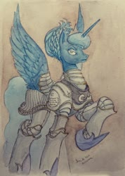 Size: 622x872 | Tagged: safe, artist:daisymane, princess luna, alicorn, pony, armor, female, mare, raised hoof, solo, traditional art, warrior luna, watercolor painting