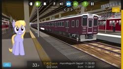 Size: 1280x720 | Tagged: safe, artist:bluemeganium, artist:topsangtheman, cloud kicker, pegasus, pony, japan, looking at you, train
