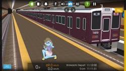 Size: 1280x720 | Tagged: safe, artist:punzil504, artist:topsangtheman, beauty brass, equestria girls, clothes, cutie mark, cutie mark on clothes, hmmsim2, japan, train, train station