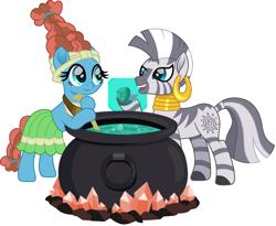 Size: 1500x1227 | Tagged: safe, artist:cloudyglow, meadowbrook, zecora, earth pony, pony, zebra, cauldron, female, gem, glow, headcanon, mare, movie accurate, simple background, transparent background