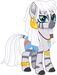 Size: 1132x1500 | Tagged: safe, artist:cloudyglow, zecora, zebra, anklet, atlantis: the lost empire, bracelet, crossover, disney, ear piercing, female, jewelry, kida, looking at you, movie accurate, piercing, simple background, solo, transparent background