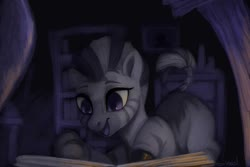 Size: 1095x730 | Tagged: safe, artist:sheol, artist:violettacamak, zecora, zebra, blank flank, book, bookshelf, cute, female, filly, filly zecora, happy, open mouth, quadrupedal, reading, smiling, solo, younger, zecora appreciation, zecora love, zecorable