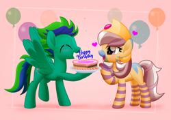 Size: 800x562 | Tagged: safe, artist:jhayarr23, oc, oc only, oc:cygnus, oc:gale twister, cresselia, pegasus, pony, zebra, balloon, birthday, birthday cake, cake, crown, cygale, female, food, jewelry, male, oc x oc, pokémon, regalia, shipping, straight, zebra oc