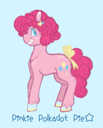 Size: 681x849 | Tagged: safe, artist:ask-pinkie-polkadot-pie, pinkie pie, pony, alternate hairstyle, ask-pinkie-polkadot-pie, blue background, bow, colored hooves, simple background, solo, tail bow, younger