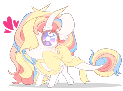 Size: 2394x1774 | Tagged: safe, artist:alyachan, oc, oc:rainbow dreams, pegasus, bow, chest fluff, chibi, female, hair over one eye, heart, horn, leonine tail, ribbon, simple background, transparent background, ych result