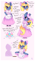 Size: 600x1058 | Tagged: safe, artist:ipun, oc, oc only, oc:azure/sapphire, anthro, unguligrade anthro, unicorn, anthro oc, arm hooves, blushing, bow, clothes, crossdressing, cupcake, curtsey, dialogue, dress, femboy, food, hair bow, heart, maid, male, solo, stallion, wig